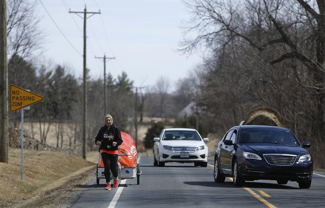 "Sixty-eight year old cross-country runner Rosie Swale-Pope is passed by traffic on Route U.S. 50 while pulling her cart, ""The Icebird"", in Upperville, Virginia March 13, 2015. (Photo by Gary Cameron/Reuters)"