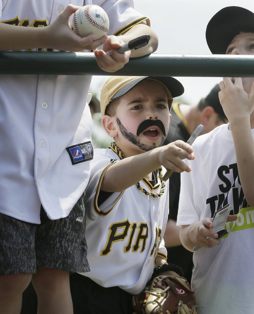 Roman Scolieri of Pittsburgh, wearing a fake mustache, for Pirates favorite Pedro Alvarez, yells into the dugout looking for autographs before a spring training exhibition baseball game against the Baltimore Orioles in Sarasota, Fla., Thursday, March 19, 2015. (Photo by Carlos Osorio/AP Photo)