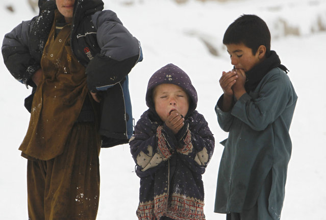 Children stand in the snow outside their shelter in Kabul December 30, 2013. (Photo by Omar Sobhani/Reuters)