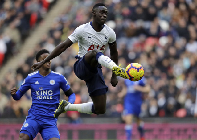 Tottenham Hotspur's Davinson Sanchez kicks the ball during the English Premier League soccer match between Tottenham Hotspur and Leicester City at Wembley stadium in London, Sunday, February 10, 2019. (Photo by Matt Dunham/AP Photo)