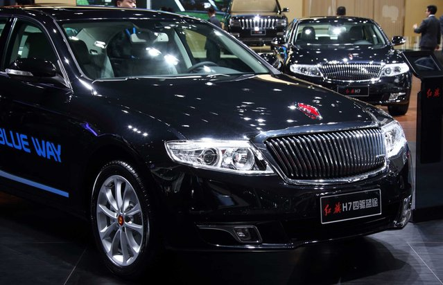 China FAW Group Corp.'s Hongqi brand H7 vehicle is displayed at the 16th Shanghai International Automobile Industry Exhibition (Auto Shanghai 2015) in Shanghai, China, on Monday, April 20, 2015. (Photo by Tomohiro Ohsumi/Bloomberg)