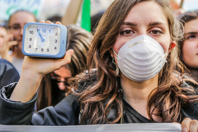 March of students for climate change in Turin, Italy on March 15, 2019. (Photo by Giulio Lapone/Sync/AGF/Rex Features/Shutterstock)