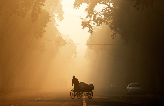 A man rides a rickshaw on a smoggy morning in New Delhi, India, December 26, 2018. (Photo by Adnan Abidi/Reuters)