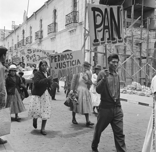 Government workers on strike in the industrial town of Arequipa, south of Lima, 1955