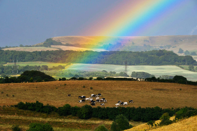 A rainbow over the the fields at Uploders in Dorset, England on July 16, 2018, as a heavy shower passed by. (Photo by Graham Hunt/Alamy Live News)