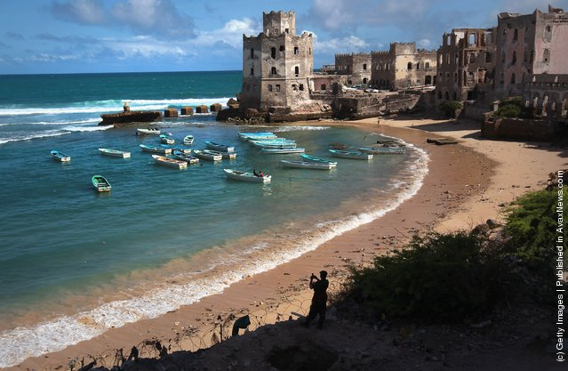 Indian Ocean meets the war-ravaged Somali coast as an African Union soldier takes scenic snapshots