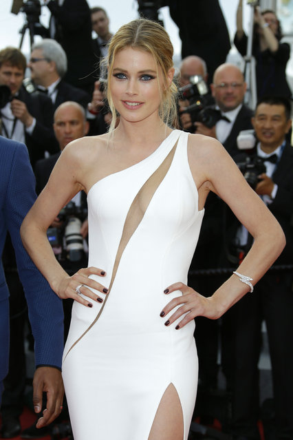 Doutzen Kroes arrives for the opening ceremony and the screening of the film La Tete Haute (Standing Tall) at the 68th international film festival, Cannes, southern France, Wednesday, May 13, 2015. (Photo by Joel Ryan/Invision/AP Photo)
