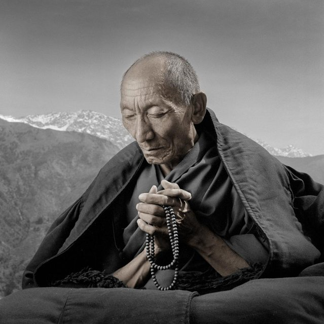 """Palden was arrested at his monastery in 1959 and spent 24 years in prison, where he was tortured frequently – actually loosing 20 teeth in one beating. He managed to flee Tibet in 1987 and came to Dharamsala. He told me ""I no longer have anger for my captors. However, I feel it is my responsibility to let the outside world know what is happening in Tibet"". (Phil Borges)"