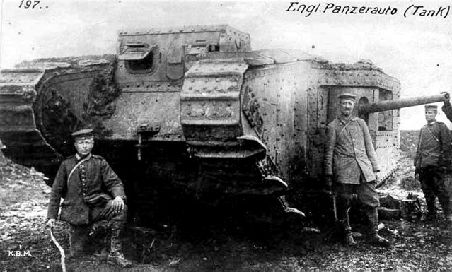 A British Mark II male tank with spudded tracks captured by Germans near Arras on April 11, 1917. (Photo by Anthony Tucker-Jones/Mediadrumworld.com)