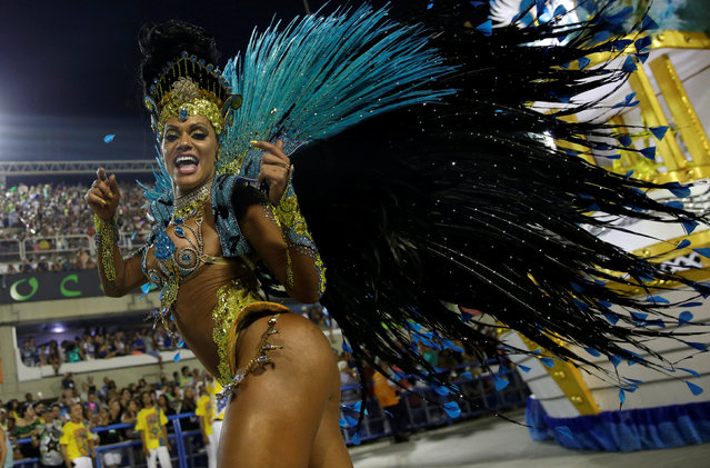 A reveller from Unidos da Tijuca samba school performs during the second night of the carnival parade at the Sambadrome in Rio de Janeiro, Brazil, February 28, 2017. (Photo by Ricardo Moraes/Reuters)