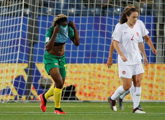 Cameroon's Claudine Meffometou looks dejected during the France 2019 Women's World Cup Group E football match between Canada and Cameroon, on June 10, 2019, at the Mosson Stadium in Montpellier, southern France. (Photo by Jean-Paul Pelissier/Reuters)