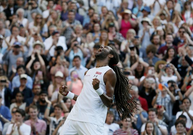 Dustin Brown of Germany celebrates after winning his match against Rafael Nadal of Spain at the Wimbledon Tennis Championships in London, July 2, 2015. (Photo by Stefan Wermuth/Reuters)
