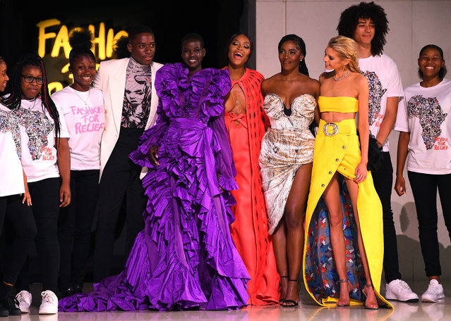 Damson Idris, Adut Akech, Naomi Campbell and Stella Maxwell the runway at the Fashion for Relief show during London Fashion Week September 2019 on September 14, 2019 in London, England. (Photo by David Fisher/Rex Features/Shutterstock)