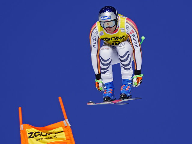 Thomas Dressen of Germany skis down the course during the men's World Cup downhill ski race in Lake Louise, Alberta, Canada, on Saturday, November 30, 2019. (Photo by Frank Gunn/The Canadian Press via AP Photo)