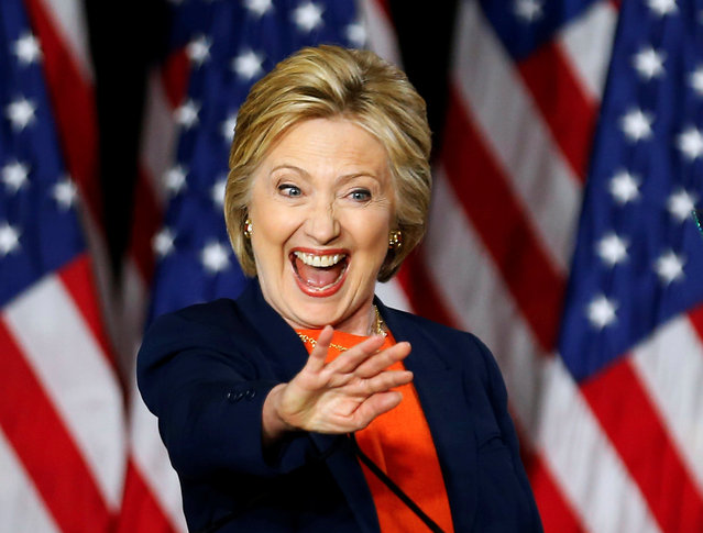 U.S. Democratic presidential candidate Hillary Clinton waves to someone in the crowd after delivering a speech on national security in San Diego, California, United States June 2, 2016. (Photo by Mike Blake/Reuters)