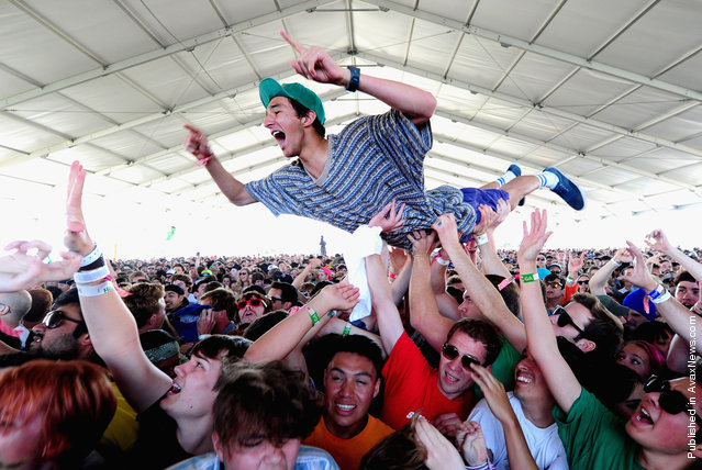 Guests attend Black Lips performance during Day 2 of Coachella 2012, on April 14, 2012