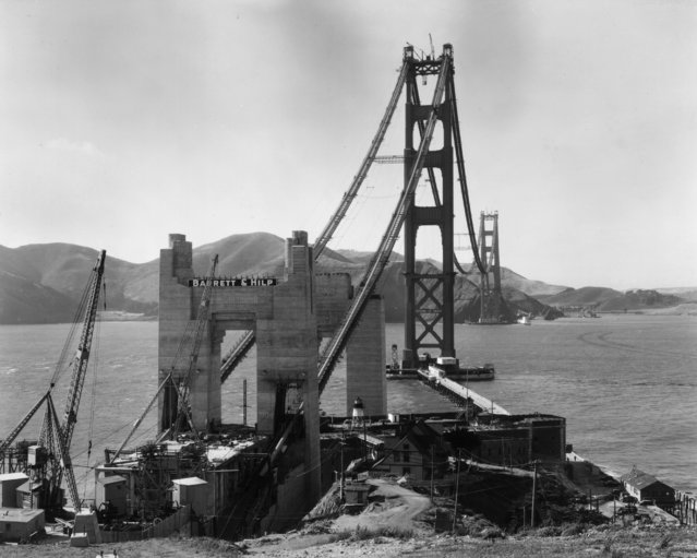View of Golden Gate Tower under construction from San Francisco looking towards the mountains of Marin County, California, circa 1935. (Photo by Hulton Archive/Getty Images)