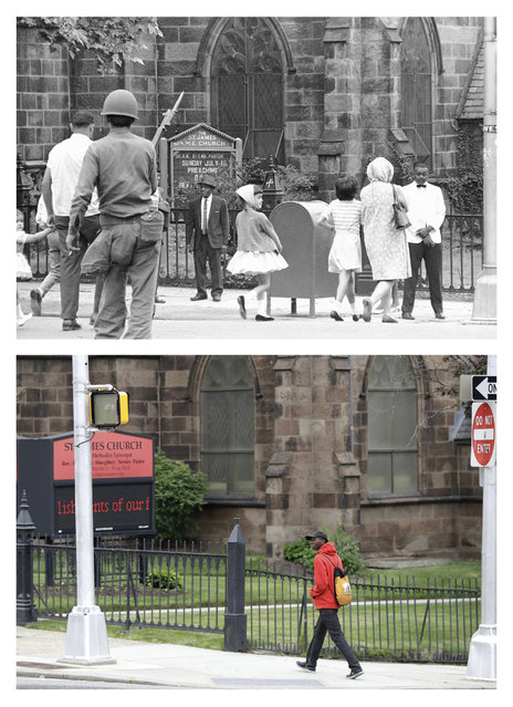 In a July 16, 1967 file photo, top, churchgoers pass a National Guard roadblock in Newark, N.J., in front of the St. James A.M.E. Church during the Newark riots. In a June 16, 2017 photo, bottom, a man walks past the same spot 50 years later. The 1967 Newark riots were a major civil disturbance that occurred in the city of Newark, New Jersey between July 12 and July 17, 1967. The four days of rioting, looting, and destruction left 26 dead and hundreds injured. In the period leading up to the riots, police racial profiling, redlining, and lack of opportunity in education, training, and jobs led local African-American residents to feel powerless and disenfranchised. In particular, many felt they had been largely excluded from meaningful political representation and often suffered police brutality. (Photo by AP Photo/John Duricka, top; Julio Cortez, bottom)