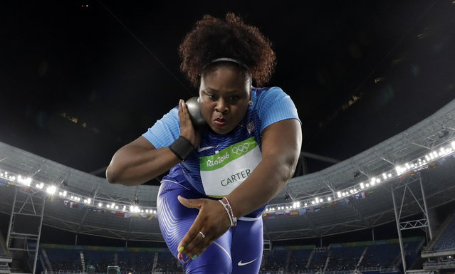 United States' Michelle Carter competes in the final of the women's shot put during the athletics competitions of the 2016 Summer Olympics at the Olympic stadium in Rio de Janeiro, Brazil, Friday, August 12, 2016. (Photo by Matt Dunham/AP Photo)