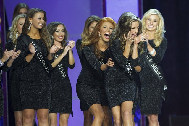 (2nd from R) Miss Georgia Betty Cantrell reacts to advancing, en route to victory, at the Miss America Pageant at Boardwalk Hall, in Atlantic City, New Jersey, September 13, 2015. (Photo by Mark Makela/Reuters)