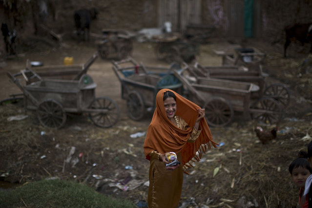An Afghan refugee, wearing new clothes, smiles to her friends while she and others celebrate the Muslim holiday of Eid al-Adha, or Feast of Sacrifice, on the outskirts of Islamabad, Pakistan, Monday, October 6, 2014. (Photo by Muhammed Muheisen/AP Photo)