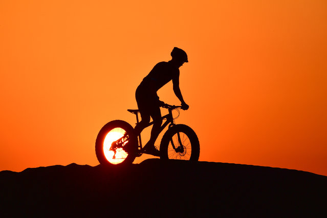 A cyclist rides in al-Qudra desert in the Gulf emirate of Dubai, on June 8, 2020. (Photo by Giuseppe Cacace/AFP Photo)