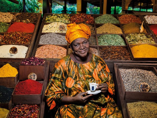 """""""Soul Ingredients"""". Mayé Ndour, a chef and restaurant owner in Senegal, she is a champion of cereals and local products in general, which she selects with care to help the people who are close to her and add value to her work. (Photo by Steve McCurry/2015 Lavazza Calendar)"""