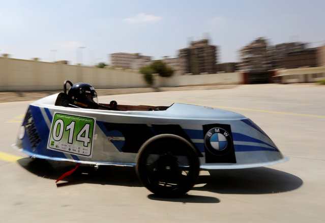 An Egyptian university student drives a hybrid racing car he built with his team to compete at the Global Hybrid-Electric Challenge in Cairo, Egypt September 2, 2016. (Photo by Mohamed Abd El Ghany/Reuters)