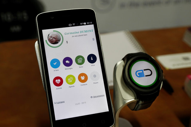 A Lili smart watch, with a variety of functions, including an alert to caregivers if the wearer has a fall, is displayed during CES Unveiled at the 2018 CES in Las Vegas, Nevada, U.S. January 8, 2018. (Photo by Steve Marcus/Reuters)