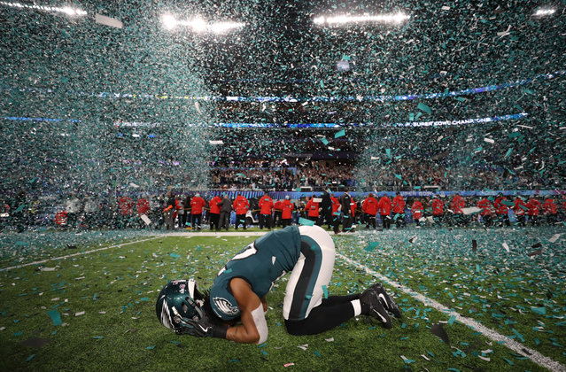 Patrick Robinson #21 of the Philadelphia Eagles celebrates after defeating the New England Patriots 41-33 in Super Bowl LII at U.S. Bank Stadium on February 4, 2018 in Minneapolis, Minnesota. (Photo by Chris Wattie/Reuters)