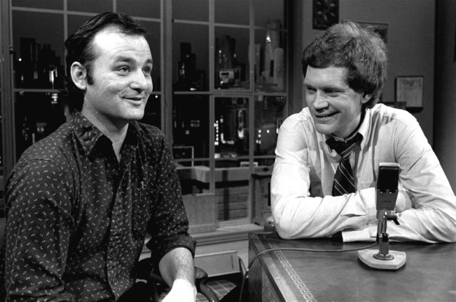 """David Letterman at the taping of his first talk-comedy hour """"Late Night with David Letterman"""" with guest Bill Murray, February 1, 1982 in New York. (Photo by Nancy Kaye/AP Photo)"""
