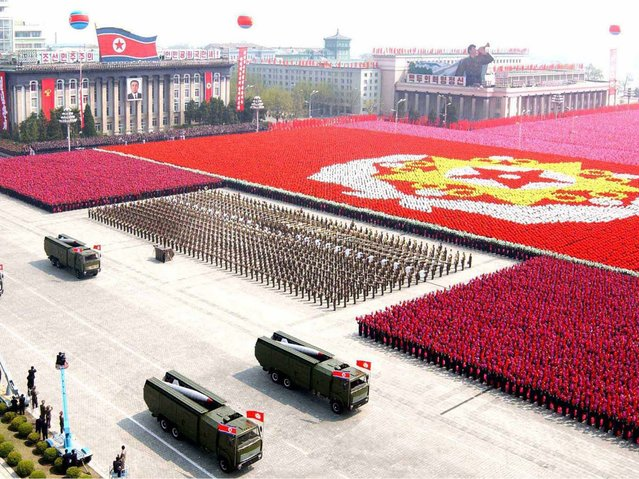 Rockets are carried by military vehicles during a military parade in Pyongyang, on April 15, 2012. (Photo by Reuters/KCNA)