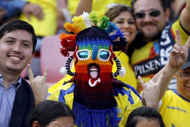 A fan of Ecuador cheers for his team before their 2018 World Cup qualifying soccer match against Uruguay at Atahualpa stadium in Quito, November 12, 2015. (Photo by Guillermo Granja/Reuters)