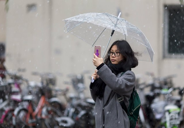 A woman takes pictures of the first snow of the winter with her mobile phone in Beijing, November 6, 2015. (Photo by Reuters/Stringer)