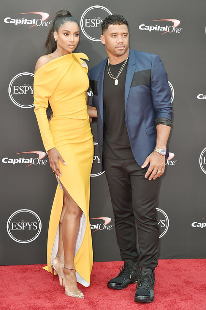 Ciara and Russell Wilson attend The 2018 ESPYS at Microsoft Theater on July 18, 2018 in Los Angeles, California. (Photo by David Crotty/Patrick McMullan via Getty Images)