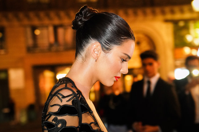 Kendall Jenner is seen, outside the Longchamp 70th Anniversary Celebration at Opera Garnier on September 11, 2018 in Paris, France. (Photo by Edward Berthelot/GC Images)