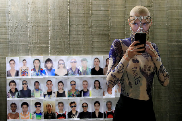 A model is seen backstage before the Koche Spring/Summer 2019 women's ready-to-wear collection show during Paris Fashion Week in Paris, France, September 25, 2018. (Photo by Gonzalo Fuentes/Reuters)