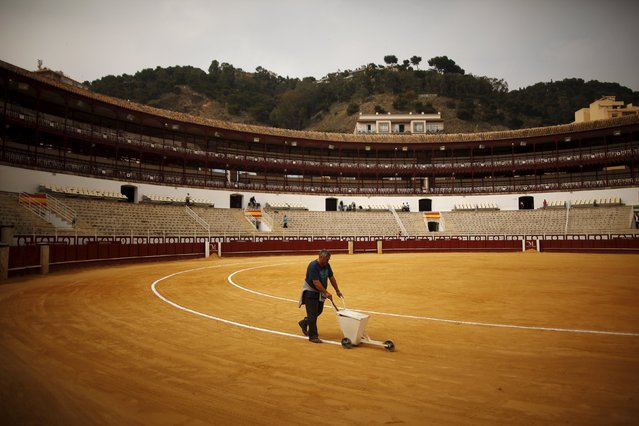A worker paints the lines of the Malagueta bullring before the start of a bullfight in Malaga, southern Spain, April 4, 2015. (Photo by Jon Nazca/Reuters)