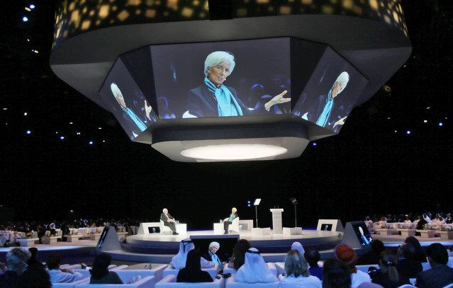 Christine Lagarde, head of the International Monetary Fund, IMF, talks at the opening day of the Global Women's Forum in Dubai, United Arab Emirates, Tuesday, February 23, 2016. (Photo by Kamran Jebreili/AP Photo)
