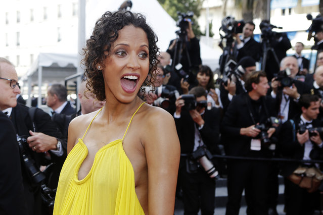 French model Noemie Lenoir poses for photographers as she arrives for the opening ceremony and the screening of the film La Tete Haute (Standing Tall) at the 68th international film festival, Cannes, southern France, Wednesday, May 13, 2015. (Photo by Lionel Cironneau/AP Photo)