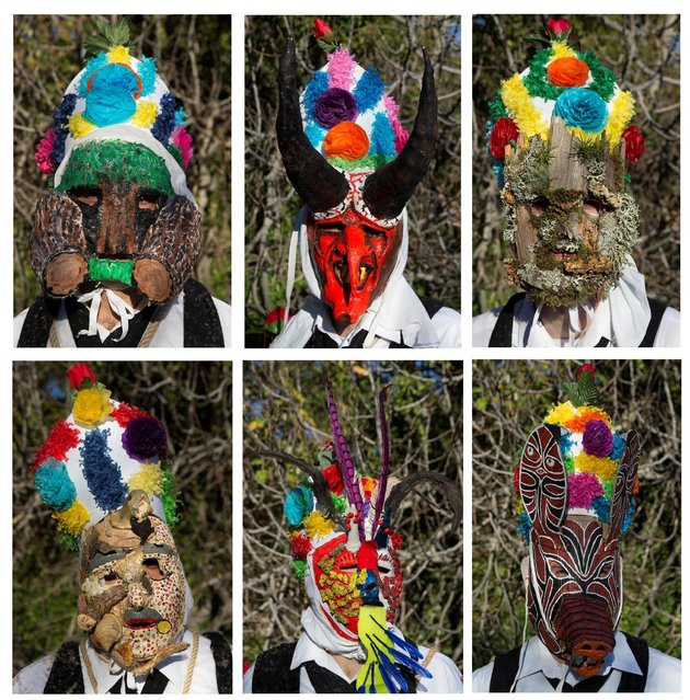 """This combination picture shows some revellers wearing masks while dressed as """"Botargas"""" during carnival celebrations in Almiruete, Spain, February 25, 2017. (Photo by Sergio Perez/Reuters)"""