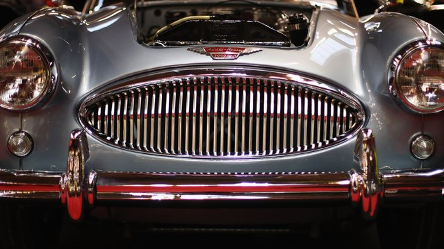 A detailed view of the headlights, front grill and bumper bar on a Austin Healey 3000 Mk2 BJ7 during the The 40th Antwerp Classic Salon run by SIHA Salons Automobiles and held at Antwerp EXPO Halls on March 3, 2017 in Antwerpen, Belgium. (Photo by Dean Mouhtaropoulos/Getty Images)