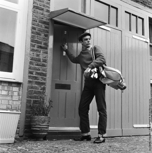 1962: Scottish actor Sean Connery, the new face of superspy James Bond, leaves his basement flat in London's NW8 for a game of golf, his favourite pastime
