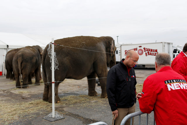 """Senior Elephant Handler Ryan Henning speaks to media before Ringling Bros and Barnum & Bailey Circus' """"Circus Extreme"""" show at the Mohegan Sun Arena at Casey Plaza in Wilkes-Barre, Pennsylvania, U.S., April 29, 2016. (Photo by Andrew Kelly/Reuters)"""