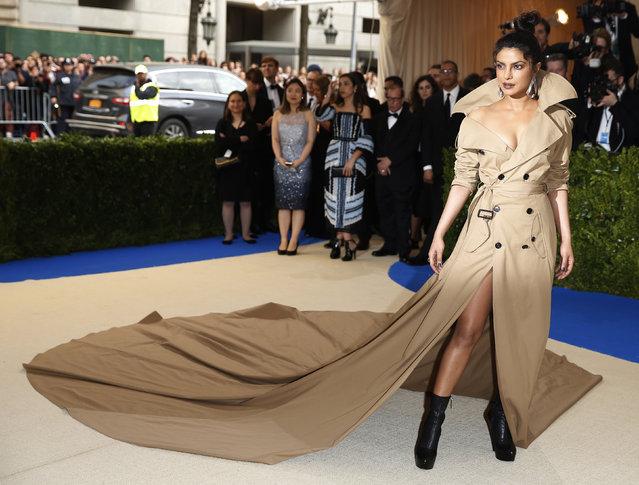 "Priyanka Chopra attends ""Rei Kawakubo/Comme des Garcons: Art Of The In-Between"" Costume Institute Gala – Arrivals at Metropolitan Museum of Art on May 1, 2017 in New York City. (Photo by Brendan Mcdermid/Reuters)"