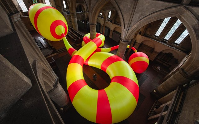 The huge inflatable sculpture INF23, by Michael Shaw, sits in the grade 2* listed former church of Left Bank Leeds, UK on September 1, 2019. At around 26m long, the piece could span nearly six buses, and uses around 600m of fabric. This stunning 26-metre long, neon-striped inflatable sculpture has been installed at a former church to encourage people to explore historic spaces. The four metre high sculpture, called INF23, is the work of London-based artist Michael Shaw, who has used around 600 metres of fabric to create it. (Photo by Alex Cousins/South West News Service)