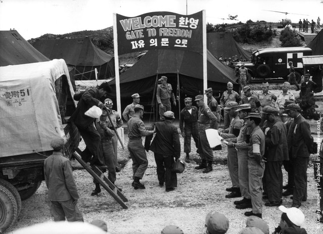 1953: An exchange of prisoners between the United Nations and the Communists at Panmunjom, Korea