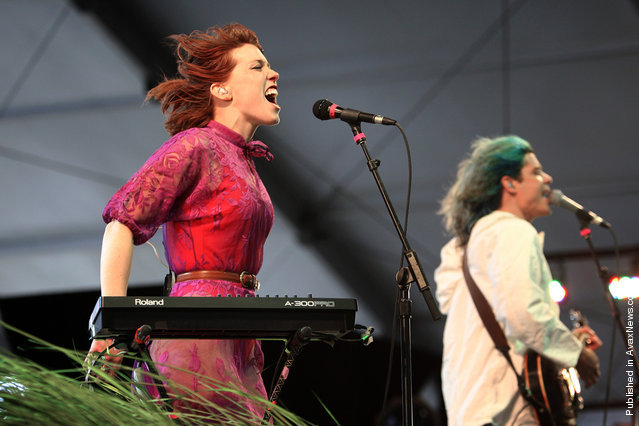 Hannah Hooper (left) performs with Grouplove at Coachella 2012, on April 13, 2012
