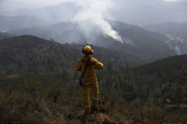 Cal Fire Engineer Clint Singleton monitors a hotspot from a hill during the Rocky Fire near Clearlake, California August 5, 2015. The fiercest of some two dozen large blazes currently raging across state is the so-called Rocky Fire, which has charred more than 68,000 acres since erupting July 29 in the foothills and canyons east of the town of Clearlake, about 110 miles north of San Francisco. (Photo by Stephen Lam/Reuters)