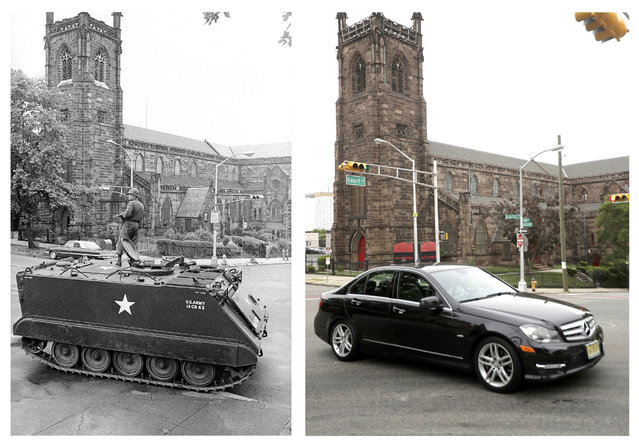 In a July 16, 1967 file photo, left, a National Guardsman stands atop an armored personnel carrier at a roadblock in Newark, N.J., in front of the St. James A.M.E. Church during the Newark riots. In a June 16, 2017 photo, right, the same spot is seen 50 years later. (Photo by AP Photo/John Duricka, left; Julio Cortez, right)